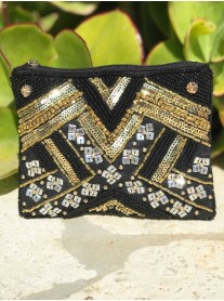 Sequin Purse (Black & Gold)