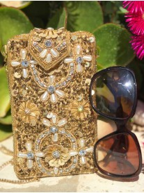 Embellished Glasses/Phone Case (Gold)