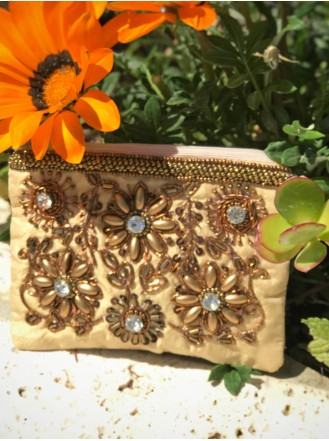 Embellished Sequin Bronze Purse (Gold)