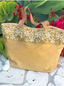 Gold Embellished Canvas Tote Bag