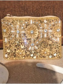 Embellished Sequin Purse (Gold)
