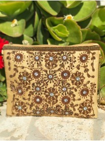 Embellished Sequin Clutch Bag (Gold)