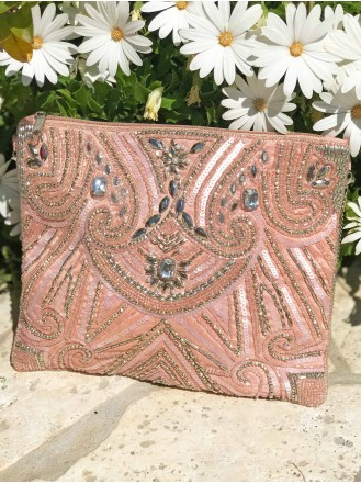 Embellished Beaded Clutch Bag (Pink)