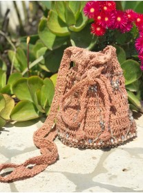 Rose Pink Embellished Straw Bag