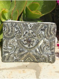 Beaded Embellished Purse (Grey)
