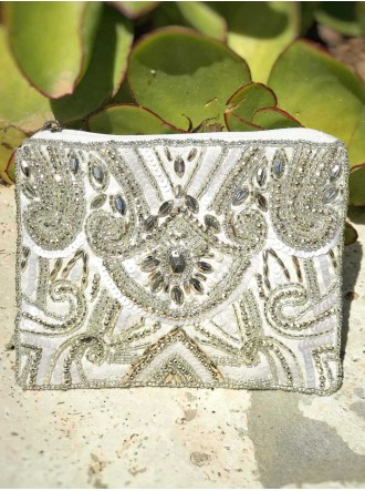 Embellished Beaded Purse (Silver)