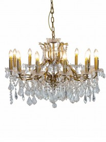 12-Branch Crystal Chandelier - Gold