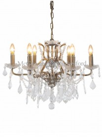 6-Branch Crystal Chandelier - Gold