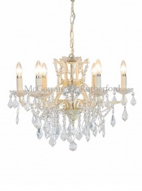 6-Branch Crystal Chandelier - Antique White