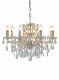 8-Branch Crystal Chandelier - Antique White
