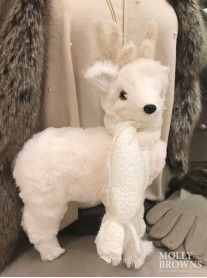 Fluffy White Reindeer Ornament