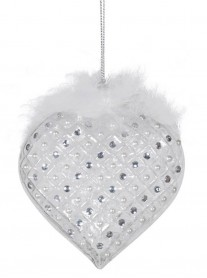 Hanging White Feather Glass Heart
