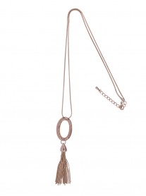 Tassled Pendant Necklace - Rose Gold
