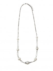 Pearl Link Necklace - Silver