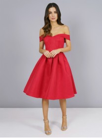 Jade - Red Bardot Dress