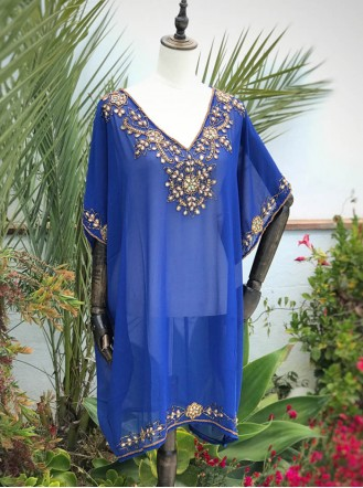 Embellished Royal Blue Kaftan