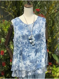 Sleeveless Pattern Top - Blue