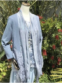 Lace Waterfall Knit Cardigan - Blue