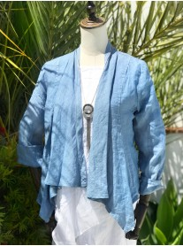 Linen Waterfall Jacket - Blue