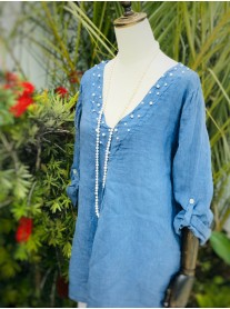 Pearl Detailed Linen Tunic - Blue