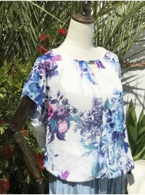 Pretty Floral Short Sleeve Chiffon Top - Blue