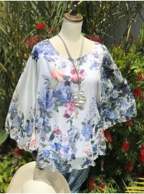 Pretty Floral Chiffon Top - Blue