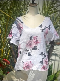 Floral Linen Top - White & Pink