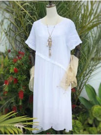 Asymmetric Linen Dress - White