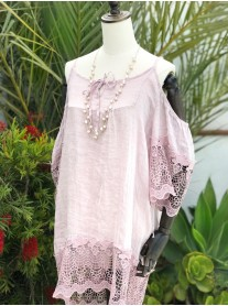 Cold Shoulder Linen & Crochet Tunic - Pink