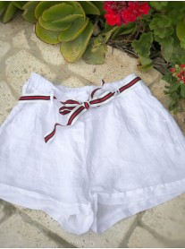 Tie Detail Linen Shorts - White