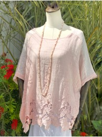 Crochet Detailed Top - Pink
