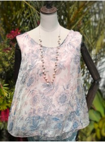 Sleeveless Pattern Top - Pink