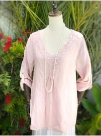 Pearl Detailed Linen Tunic - Pink