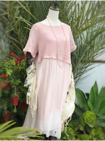 Asymmetric Linen Dress - Pink
