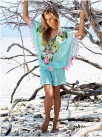 Pom Pom Beach Dress (Mint)
