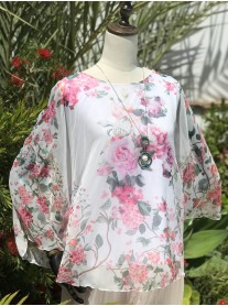 Pretty Floral Chiffon Top - Pink