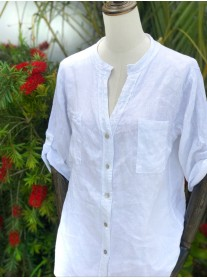 Linen Top with Crochet Detailed Back - White