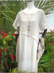 Asymmetric Linen Dress - Beige