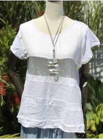 Silver Sequinned Top - White