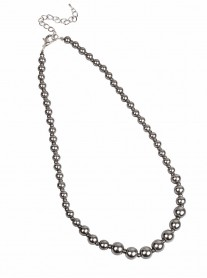 Classic Graduated Pearl Necklace - Grey