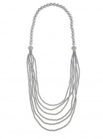 Magnetic Multi-Way Pearl Necklace - Grey