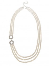 Pearl & Diamante 3-Row Necklace - Pearl