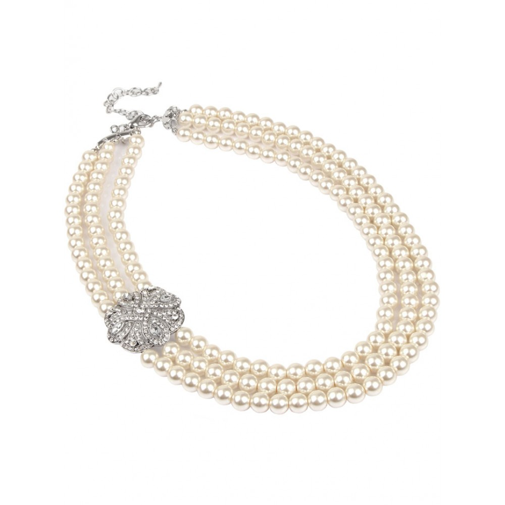 String Pearl Necklace: Diamante Clasp 3 String Long Pearl Necklace