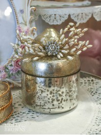 Silver Metallic Crystal Embellished Trinket Pot