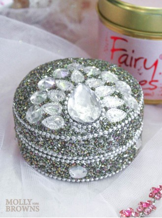 Crystal & Glitter Trinket Box - Round