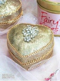 Gold Crystal Embellished Trinket Box - Heart