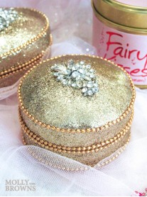 Gold Crystal Embellished Trinket Box - Round