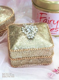 Gold Crystal Embellished Trinket Box - Square