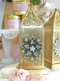 Gold Metallic Crystal Flower Embellished Tea Light Holder - Medium