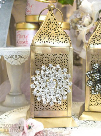 Gold Metallic Crystal Embellished Tea Light Holder - Medium